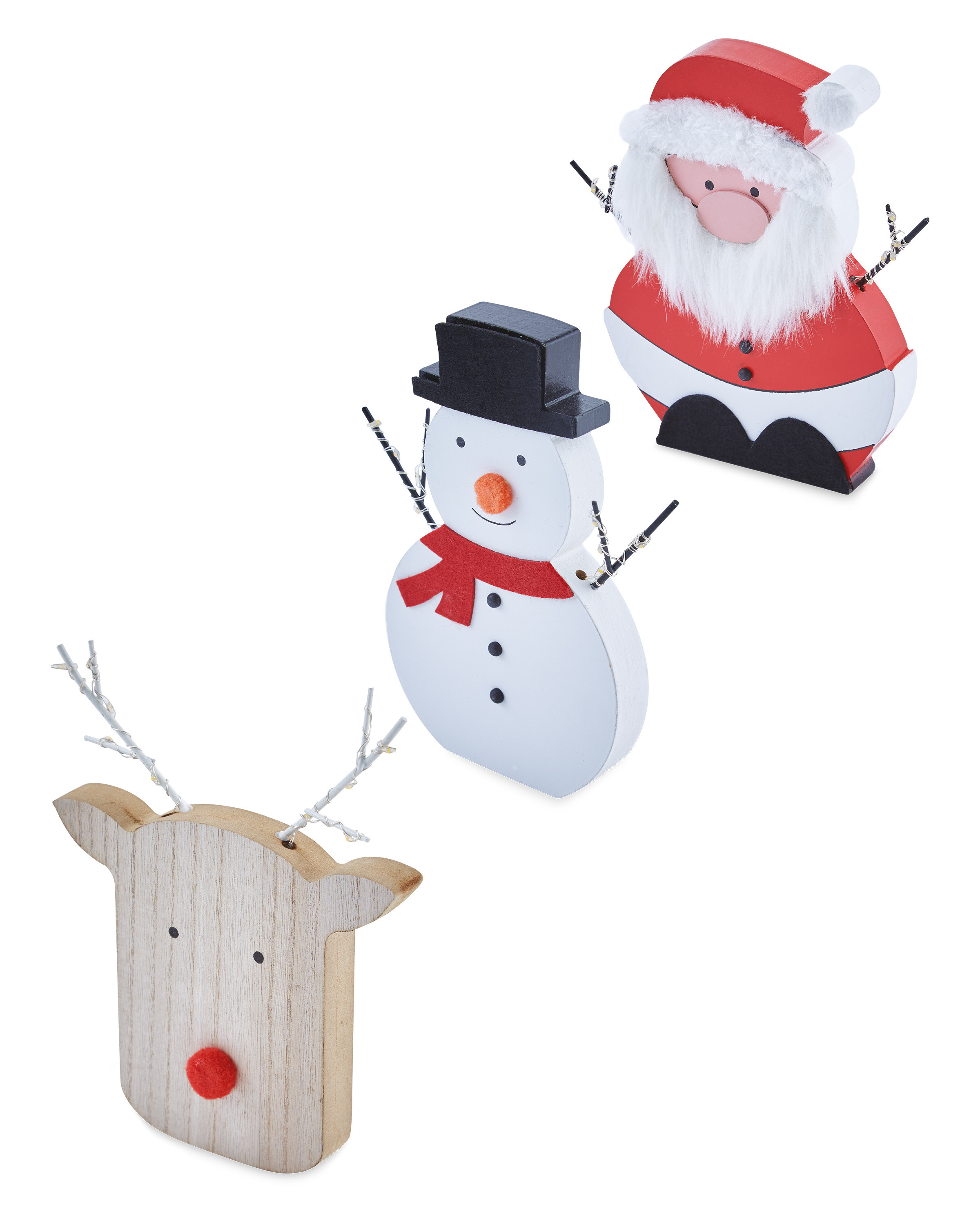 Wooden LED Festive Characters 3 Pack