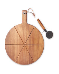 Wooden Pizza Board And Cutter