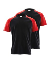 Workwear Men's 2-Pack T-Shirt - Black/Red