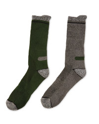 Workwear Socks 2-Pack - Green & Grey