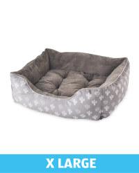 X-Large Plush Dog Bed - Grey Cactus