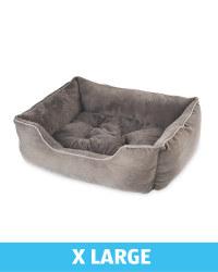 X-Large Plush Dog Bed - Grey