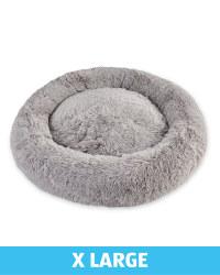 XL Comfy Long Pile Pet Bed - Grey