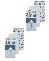 Xmas Home Novelty Tea Towels 6 Pack