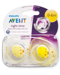 Yellow 0-6m Glow Soothers 2 Pack