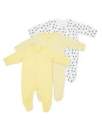 Yellow Baby Sleepsuits 3 Pack
