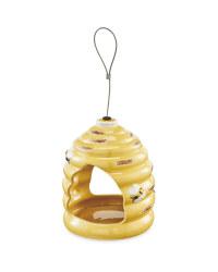 Yellow Beehive Ceramic Bird Feeder
