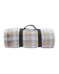 Yellow Check Travel Fleece Blanket