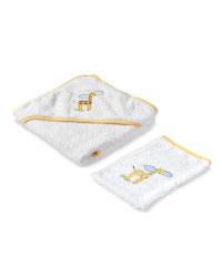 Yellow Giraffe Hooded Baby Towel