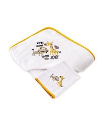 Zoo Hooded Towel With Wash Mitt