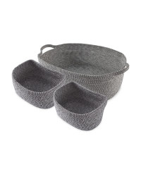 Large Rope Basket 3 Pack - Black & White