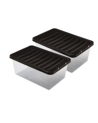 12L Storage Boxes 2 Pack - Black