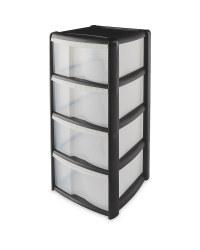 4 Drawer Plastic Storage Tower - Black