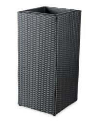Tall Cube Rattan-Effect Planter - Black