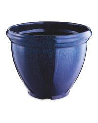 Glazed Effect Plastic Planter - Blue
