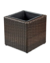 Rattan-Effect Cube Planter - Brown