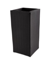 Tall Cube Rattan-Effect Planter - Brown