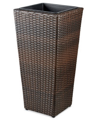 Tall Conical Rattan-Effect Planter - Brown