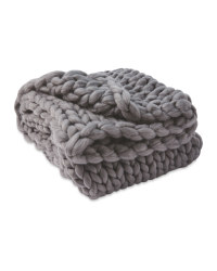 Kirkton House Chunky Knit Throw - Dark Grey