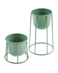 Round Metal Planter with Frame Set - Green