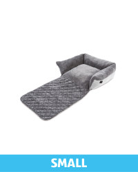 Small Herringbone Roll Down Pet Bed - Grey