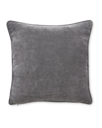 Plain Velvet Effect Cushion - Grey