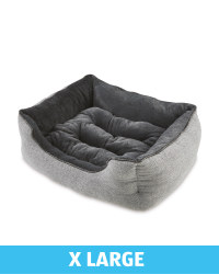 XL Herringbone Plush Dog Bed - Grey