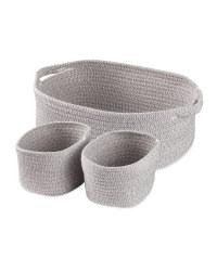 Kirkton House Rope Basket 3 Pack - Grey
