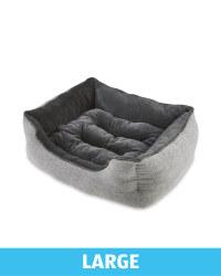 Large Herringbone Plush Pet Bed - Grey