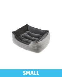 Small Herringbone Plush Pet Bed - Grey