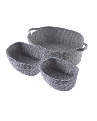 Large Rope Basket 3 Pack - Navy & White