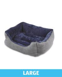 Large Herringbone Plush Pet Bed - Navy