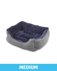 Medium Herringbone Plush Pet Bed - Navy