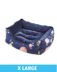XL Floral Plush Dog Bed - Navy