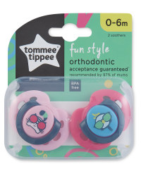 Fun Soothers 0-6 Months 2 Pack - Pink