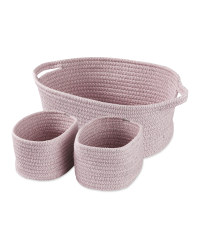 Kirkton House Rope Basket 3 Pack - Pink