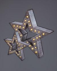Kirkton House Wooden Stars 2 Pack - Rustic Brown