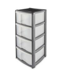 4 Drawer Plastic Storage Tower - Grey