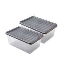 12L Storage Boxes 2 Pack - Silver
