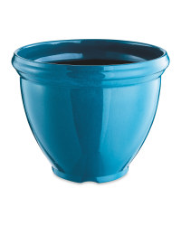 Glazed Effect Plastic Planter - Teal