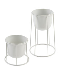 Round Metal Planter with Frame Set - White