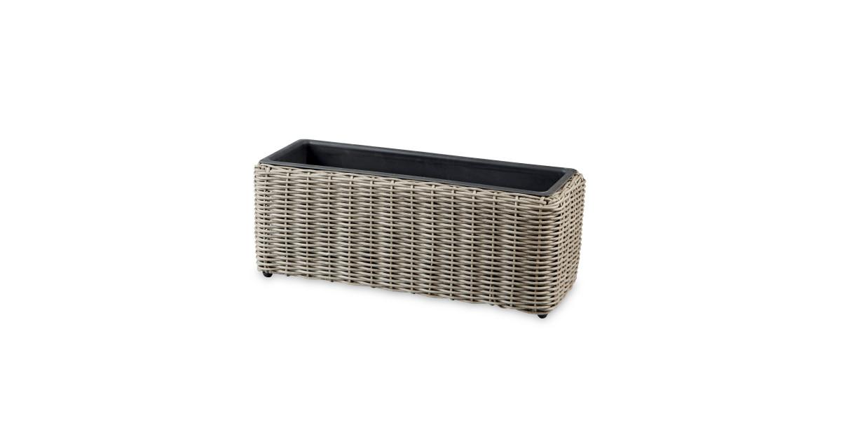 single rattan effect planter aldi uk. Black Bedroom Furniture Sets. Home Design Ideas