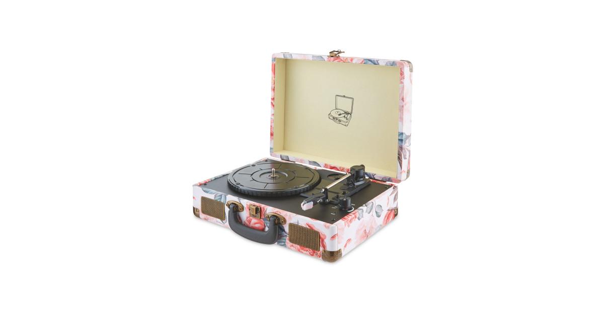 reka floral retro usb record player aldi uk. Black Bedroom Furniture Sets. Home Design Ideas