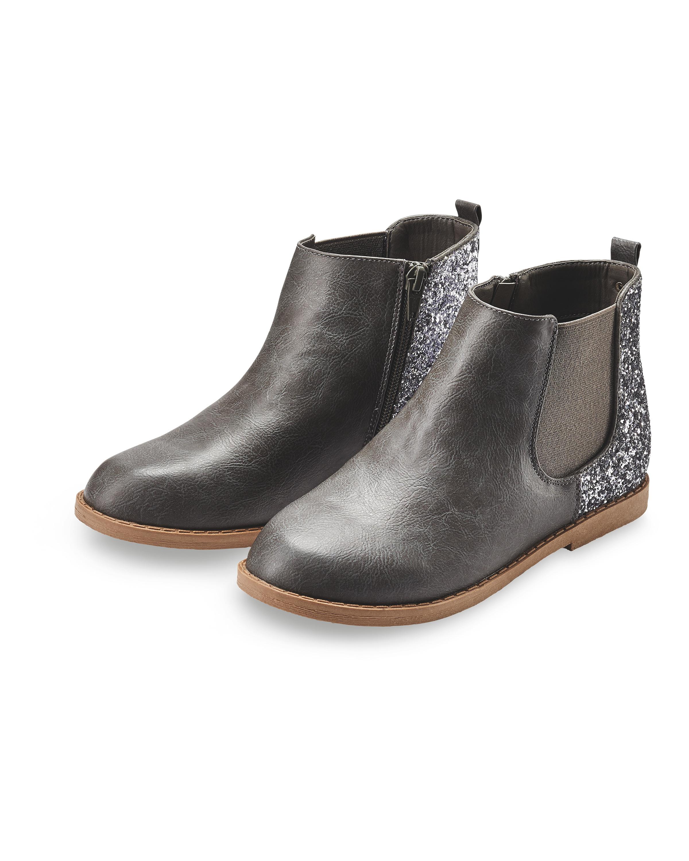 Girls' Grey Glitter Chelsea Boots - ALDI UK