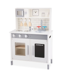 Large Wooden Play Kitchen In Grey Roleplay Toys Aldi