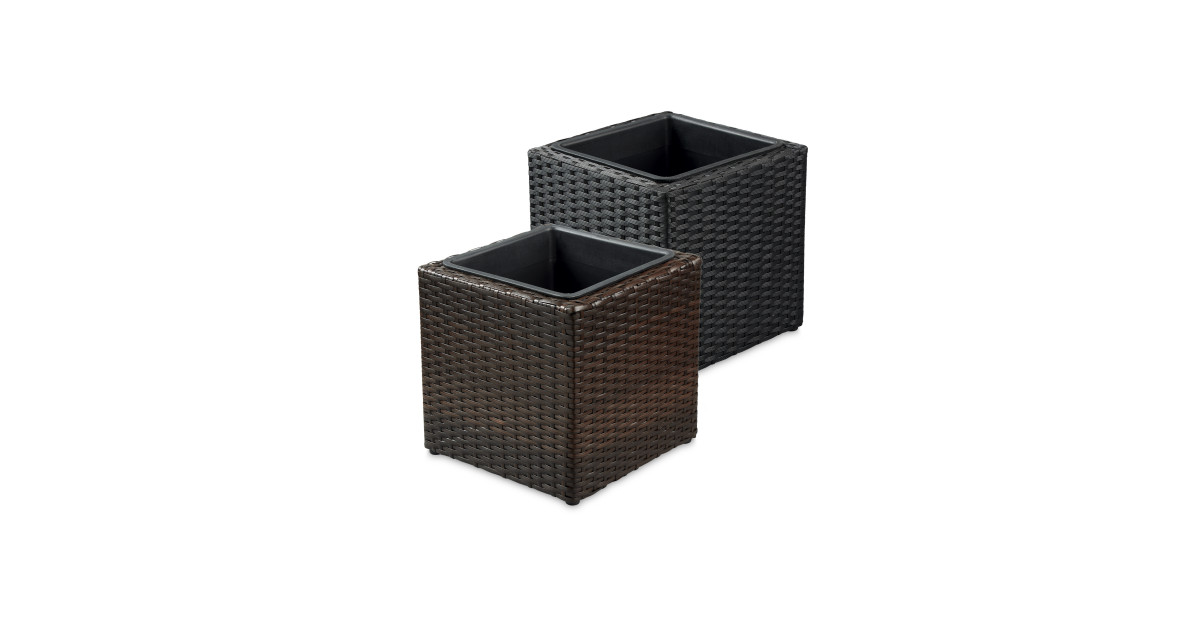 rattan effect cube planter aldi uk. Black Bedroom Furniture Sets. Home Design Ideas
